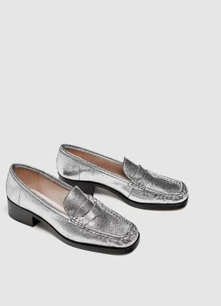 Кожаные туфли zara1 фото