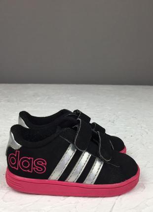 Черные кожаные кеды на липучках adidas neo детские для малышей кроссовки