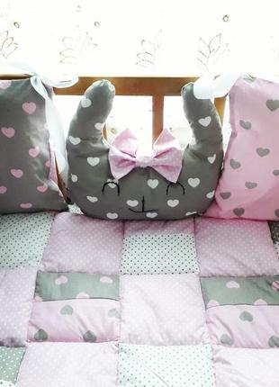 Набор в кроватку. бортики. детское постельное. подушка, матрасик, одеяло