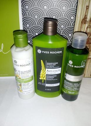 Набор гель для ног, шампунь люпин и мицеллярная вода детокс yves rocher (ив роше)