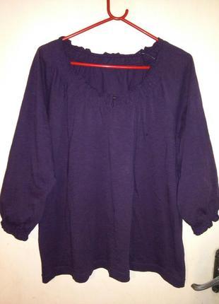 Трикотажная,натуральная,женственная блуза цвета марсала,большого 18/22размера