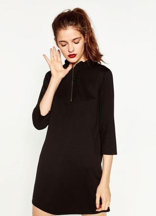 Акция до 12.05! черное платье трапеция с рукавом 3/4 от zara