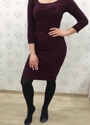 Винное облегающее платье
