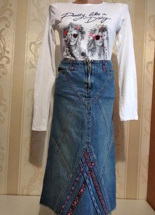 Джинсовая юбка с узором .  mary-kateandarshley