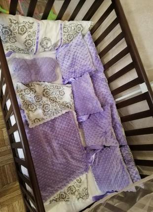 Бортіки защіта в кроватку +простинь +подушка ортипедична +одіяло + балдахін.5 фото
