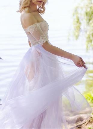 Будуарное платье для утра невесты. ручная работа