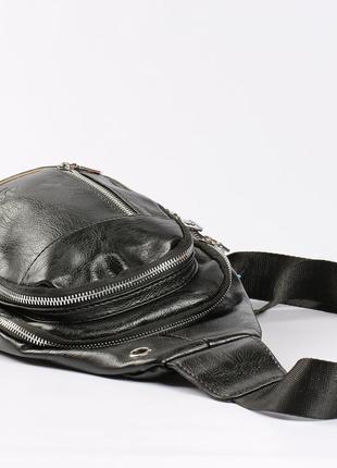 """Вместительная мужская сумка на грудь """"jeep"""" черная"""
