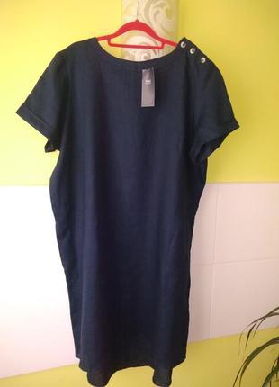 Льняное платье прямого кроя с карманами от m&s