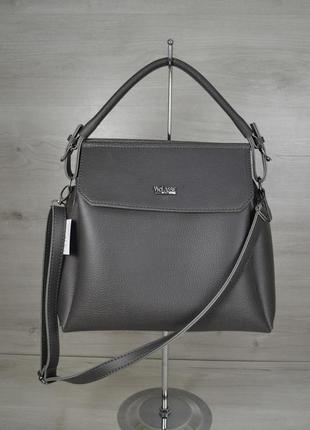 Серая матовая женская сумочка на плечо в форме саквояжа