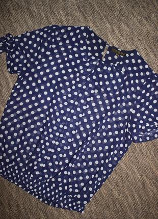 Шифоновая блуза в горох, р-р l-xl
