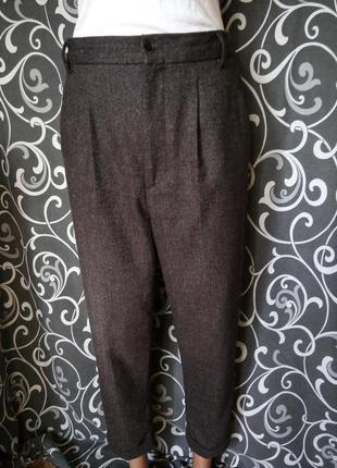 Бомбезные осенние весенние зимние укороченные штаны в составе шерсть