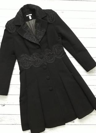 Кашемировое пальто, черное пальто колокольчик из кашемира с кружевом
