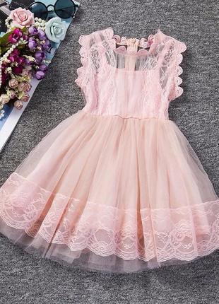 Нежное платье гипюр рост 120 см
