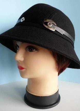 Шляпа женская. федора. кашемир черный. байкерский стиль. цена 280 гр.