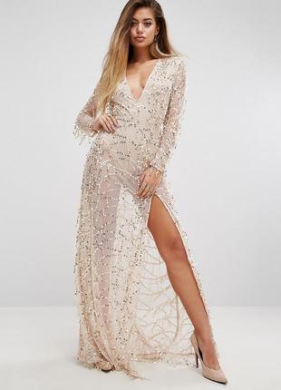 Шикарное вечернее платье расшитое бахромой из пайеток  prettylittlething от asos