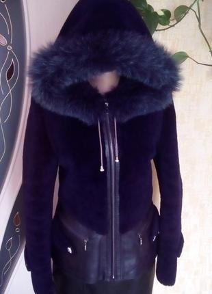Роскошная шубка из 100 % мутон песец и кожа/дублёнка /шуба/ парка/куртка