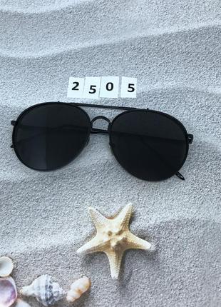 Модные черные очки в черной оправе  к. 2505