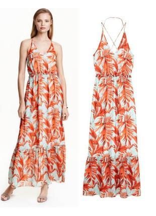 ba0c9942582 Длинное шифоновое цветастое платье в пол на тонких бретельках h m