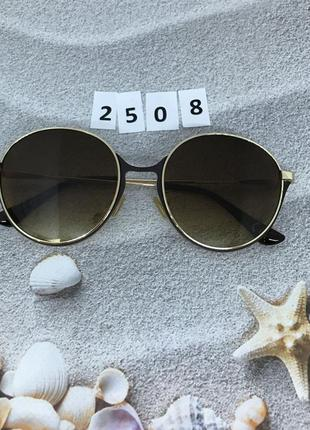 Круглые коричневые очки в золотой оправе  к. 2508