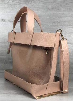 Силиконовая прозрачная сумка с клатчем через плечо розовая пудровая основа3 фото