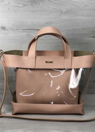 Силиконовая прозрачная сумка с клатчем через плечо розовая пудровая основа
