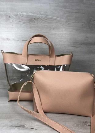 Силиконовая прозрачная сумка с клатчем через плечо розовая пудровая основа4 фото