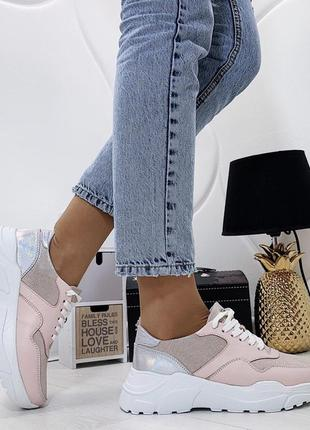 Новые розовые кожаные женские кроссовки