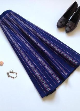 Синяя пышная юбка миди с цветочным принтом в стиле винтаж ретро