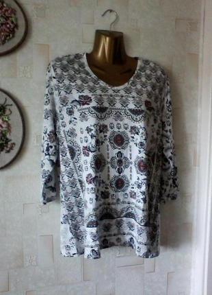 Вискозная  блуза футболка с рукавом 3/4, разм. 50-52