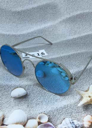 Стильные круглые голубые очки к. 2516