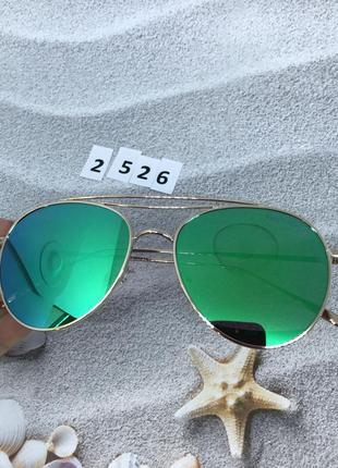 Сине-зеленые зеркальные очки в золотой оправе к. 2526