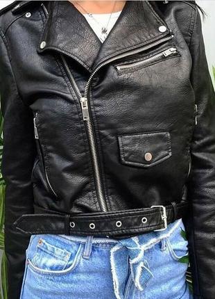 Шикарная курточка-косуха,кожанка,куртка экокожа черная