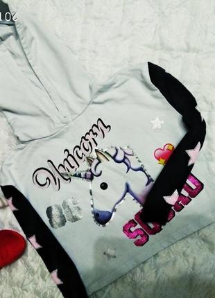 Укороченный свитшот с едмнорогом на девочку 7-8 лет