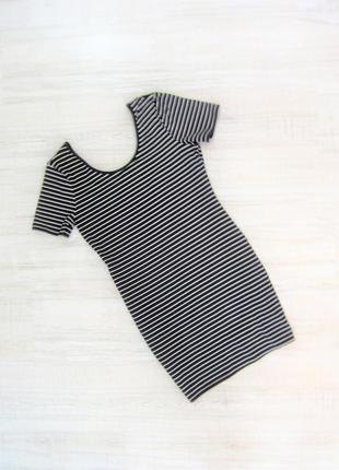 Платье черно-белое полосатое летнее мини h&m, р. м-l
