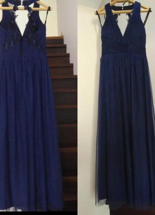 Вечернее выпускное платье длинное в пол темно - синее с-м с открытой спиной