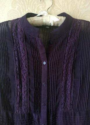 Фиолетовая туника/удлиненная блуза с кружевными вставками 10р