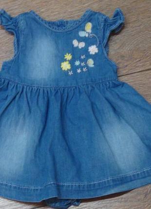 Красивое джинсовое платье - бодик mothercare  1-3 мес