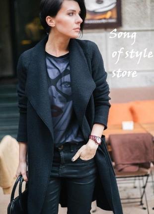 Zara  шерстяное пальто, темно-синий р. xs