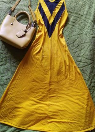 Милый желтый сарафан-миди с красивой спинкой
