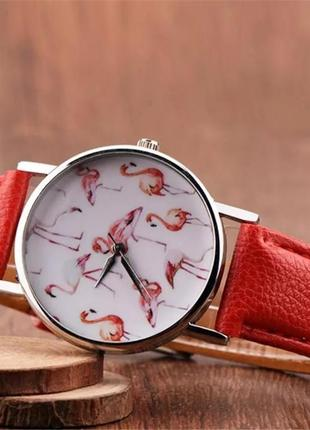 Коралловые наручные часы фламинго
