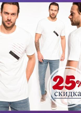 Мужская футболка белая de facto/де факто с карманом на груди - фирменная турция
