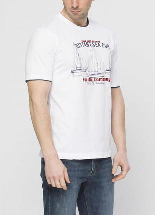 Мужская футболка lc waikiki белого цвета с надписью distant sea cup - фирменная турция