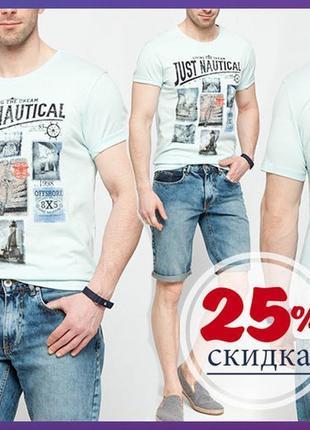 Мужская футболка мятная lc waikiki / лс вайкикиь just nautical фирменная турция
