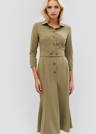 Элегантное платье миди cardo lalo {кардо} оливковое деловое на пуговицах под пояс