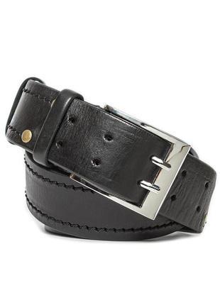 Ремень мужской кожаный kb-45 black (4,5 см)