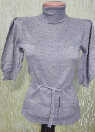 """Гольф-водолазка, трикотажный, серый меланж/укороченный рукав """" фонарик/пояс/vero moda"""