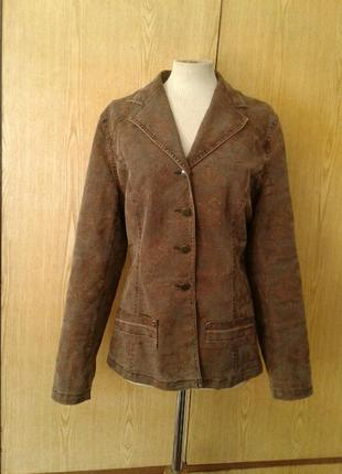 Коричневый катоновый стрейчевый пиджак,1 фото