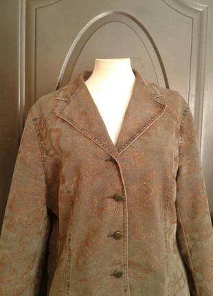 Коричневый катоновый стрейчевый пиджак,2 фото