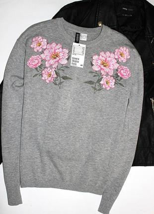 Хлопковый свитер с вышивкой h&m р.м