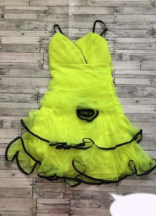 Шикарное фатиновое неоновое мягенькое платье с бантом! яркое, комфортное!